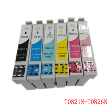 Vilaxh T0821 Compatible Ink Cartridge 6PCS For Epson R270 R390 TX650 T50 T59 RX590 TX610 TX720 TX700 TX800 RX610 Printer
