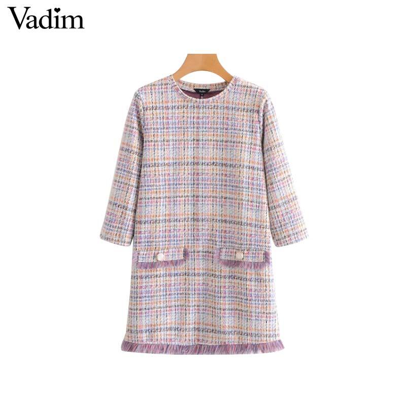 Vadim women tweed plaid dress tassels vintage patchwork button pocket decorate three quarter sleeve casual vestidos mujer QA757