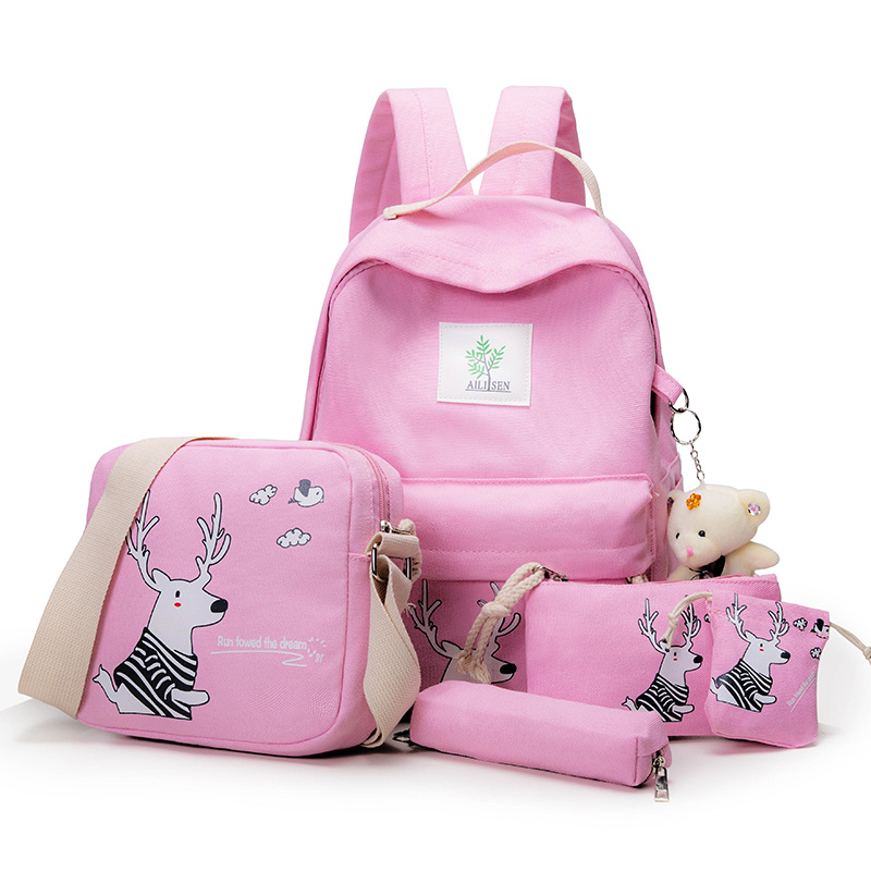 2017 School Bags For Teenage Girls Canvas Beer Printing Women Backpacks 5pcs/Set High Quality Book Bag For Student nbxq151