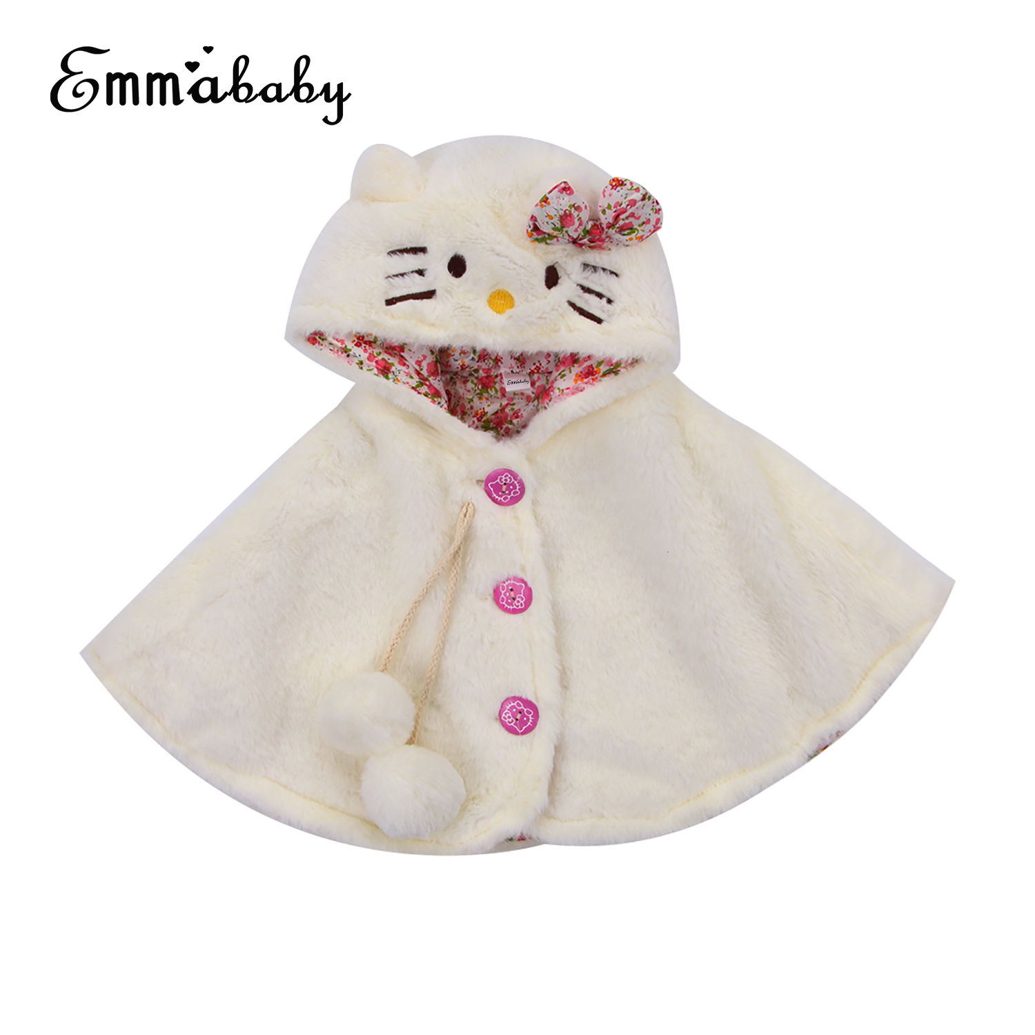 Newborn Baby Girl Fur Pom Warm Coat Fleece Jacket Outwear Cape Snowwear Clothes