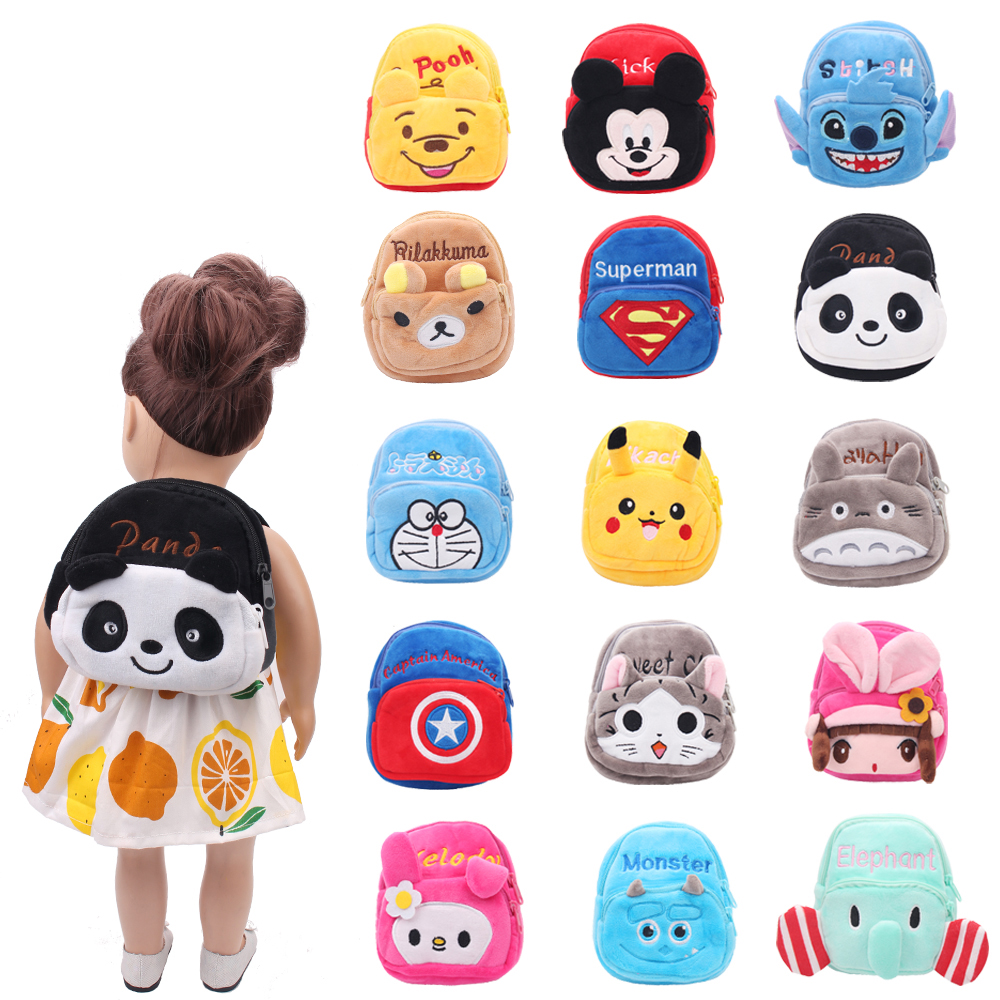 Dolls Bag School Backpack Cartoon Animal Zero Wallet Baby Toys Fit American 18 Inch Girls Doll And 43 Cm Baby Gift C472
