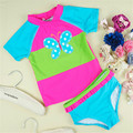 Girls Fashion Clothing Set Summer Short Sleeve Shirt+Shorts 2pcs Suit Swimsuit Children Butterfly Stictched Patter Kids Clothes