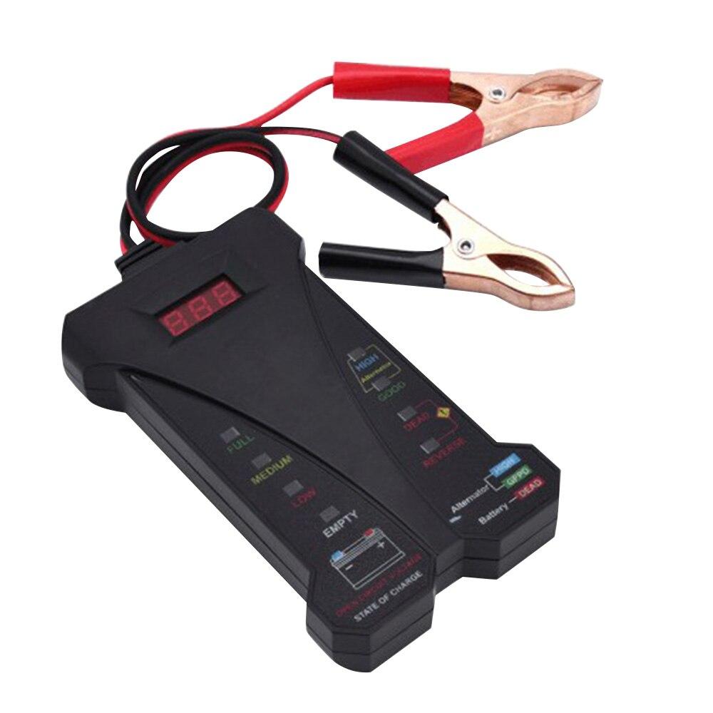 Motopower MP0514A 12 V testeur de batterie numérique voltmètre analyseur de système de charge affichage LCD Indication de LED-peinture en caoutchouc noir