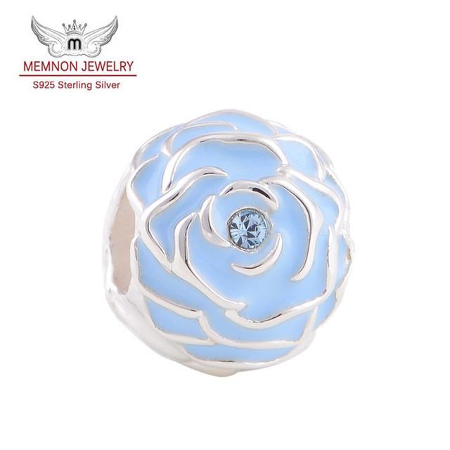 Esmalte de moda azul encantos de flores 925 joyería de plata esterlina adapta European Brand pulseras brazalete DIY Making venta al por mayor YZ202