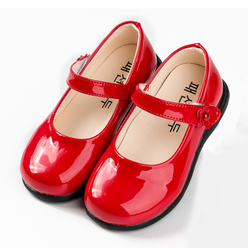 2019Spring New Childrens Girls Shoes Black Student Leather Shoes Girls Kids School Shoes Black Red White 3 4 5 6 7 8 9 10 15Year
