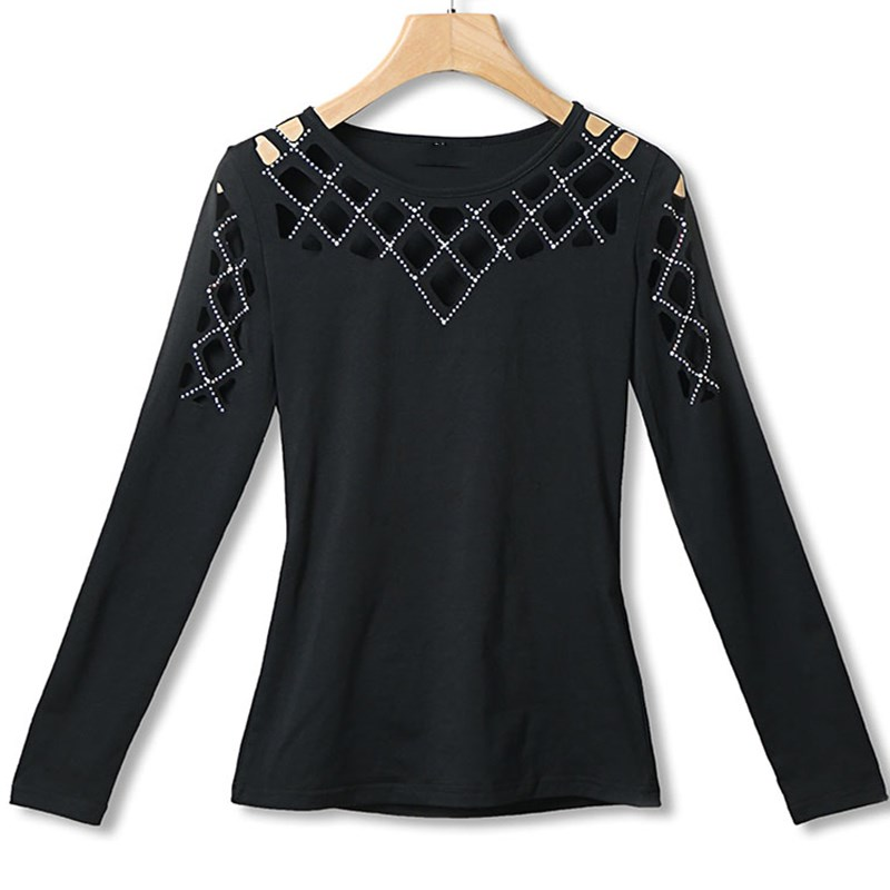 Fashion 2019 Women Summer Leisure Casual Hollow Out T Shirt Elegant Black Basic Shinny Holiday Tops Studded Long Sleeve Tees in T Shirts from Women 39 s Clothing