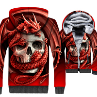Fashion Skull Anime Men's Jacket 2018 Winter Thick Tracksuits Hip Hop Zipper Coat Male Gothic Unisex Red Coat Streetwear Hoodies