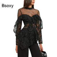 Sexy Black Women Sheer Top Fall 2018 Runway Perspective Mesh Lace Blouse Women's shirt Sexy See though Long Sleeve Tunic Blouses