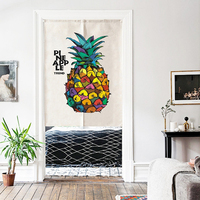Cotton Linen Kitchen Curtain Bedroom Door Curtain Pineapple and green plants Door Valance Half Window Curtains Room Decoration
