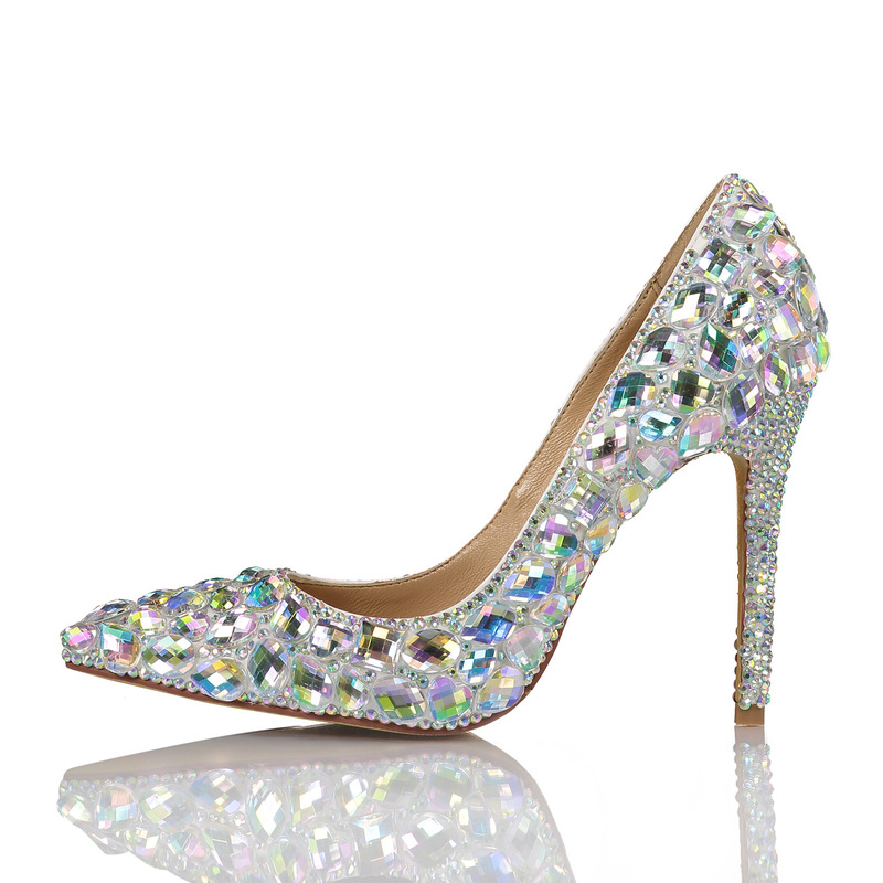 New Women High Fashion Colorful Crystal Supper High Heel Pointed Toe Wedding Party Shoes Ladies Pumps Female Sheepskin Hot Shoes new arrival multi ab color wedding shoes women s pumps luxury crystal shoes pointed toe square heel sheepskin real leather shoes