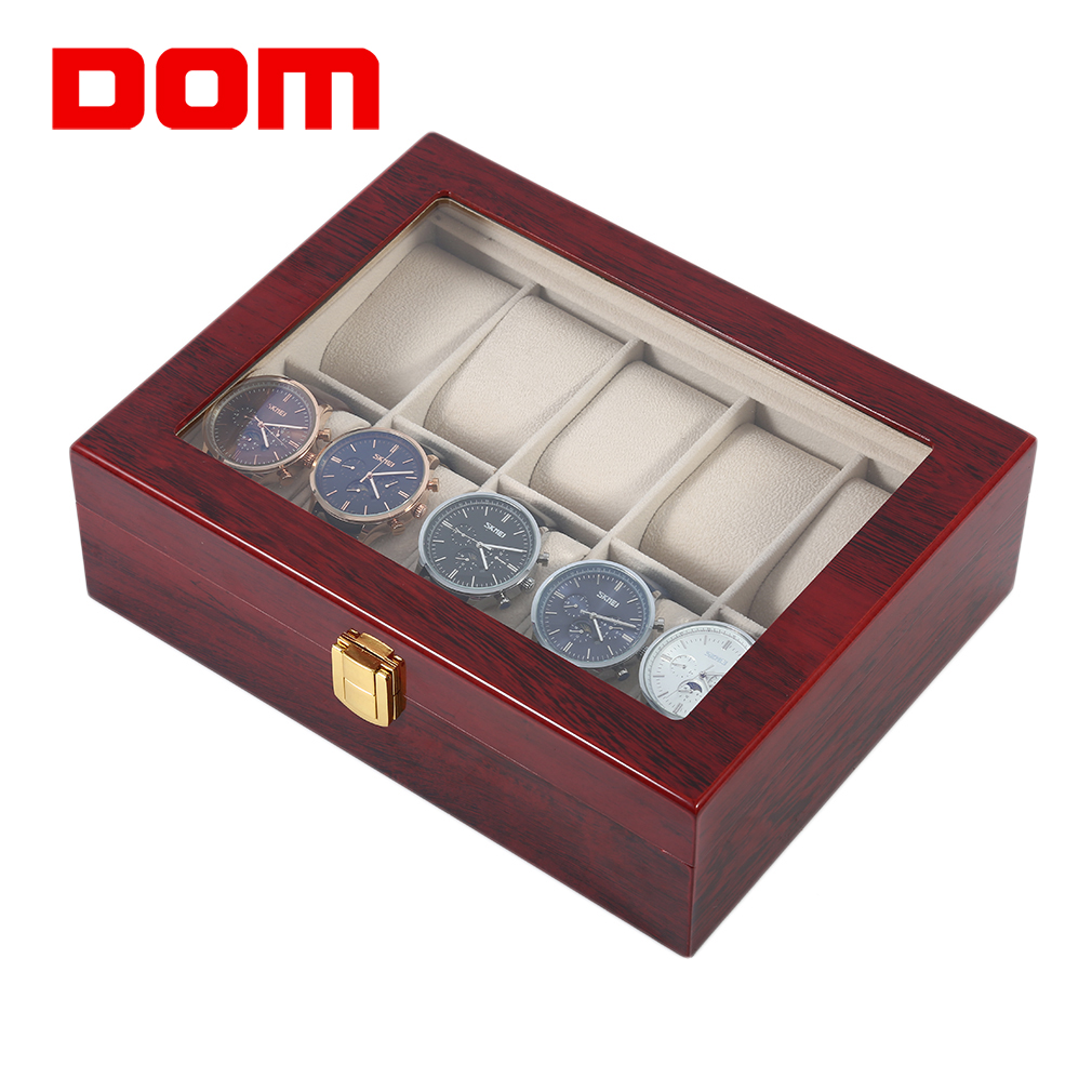 DOM Luxury 10 Grids Solid Wooden Watch Box Case Jewelry Display Collection Storage Case Red Caixa Para Relogio Saat Kutusu red wooden watch storage case 6 grids watches display box red lacquer jewelry watch boxes fashion watch storage gift boxes