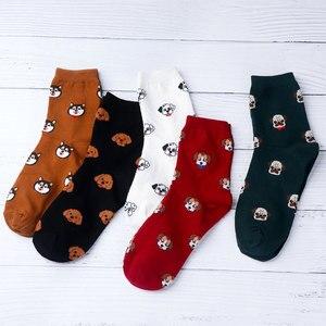 Новые милые женские хлопковые носки Kawai с мультяшным рисунком, забавные женские Носки с рисунком Шиба, кота, собаки, корги, повседневные носк...