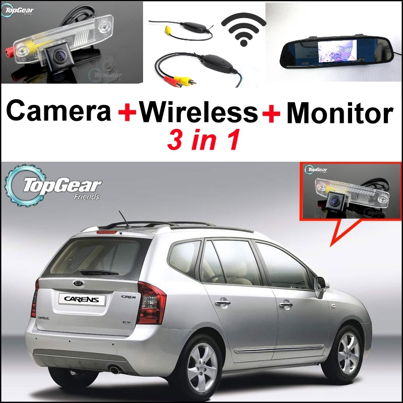 3 in1 Special Rear View Camera + Wireless Receiver + Mirror Monitor DIY Parking System For KIA Carens Ceed Cee'd Rondo 2006~2013 26 with smart kits bathroom tv waterproof tv avis avs260f dvb t dvb t2 dvb s2 dvb c free shipping