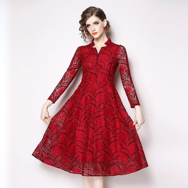 <font><b>2018</b></font> Quality <font><b>Luxury</b></font> Runway Red Lace <font><b>Dress</b></font> Women Long Sleeve <font><b>Sexy</b></font> V-neck Party <font><b>Dress</b></font> Vestidos Vintage Red <font><b>Dress</b></font> N6628 609 image