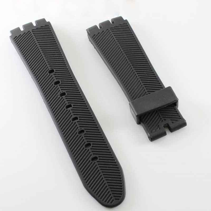 Watch Accessories for Swatch 27mm black silicone strap watch with rubber watch belt male watch three claw silicone tape