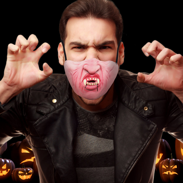 594589c0022 US $2.41 15% OFF|Halloween Mask Woman Fun Scary Mask Fangs Vampire Show  Mask Funny Half Face Latex Simulation Mouth Photo Props Mask Supplies-in  Party ...
