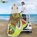 2017 microfibra de loto ronda impreso beach towel patrón elefante dreamcatcher seaside vacaciones de camping estera mandala de la borla grande