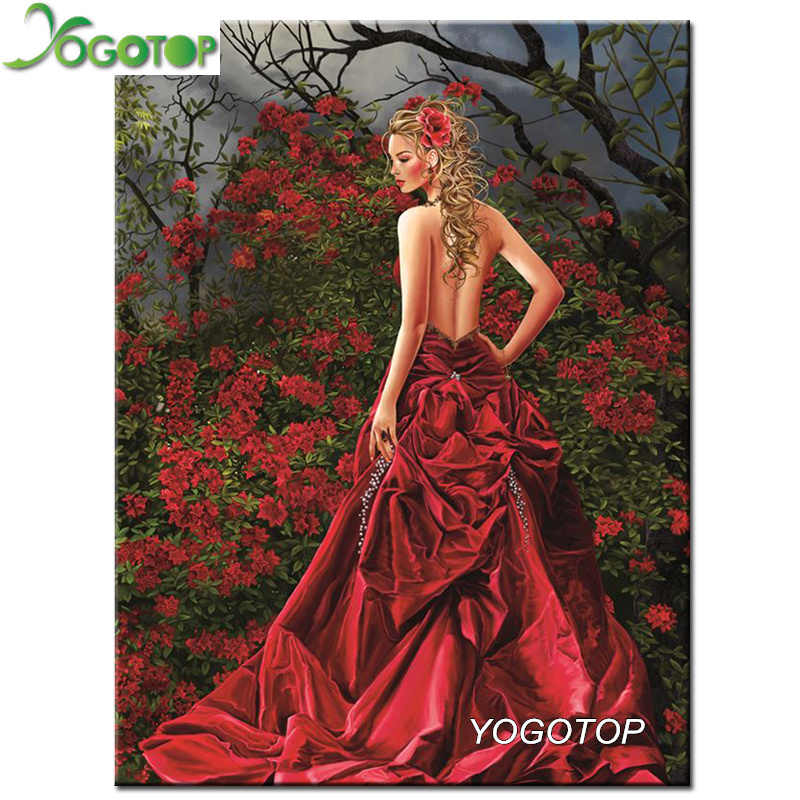 YOGOTOP DIY 5D Diamante Mosaico Kit Completo Pittura Diamante Punto Croce bellezza Elegante Diamante Ricamo Decorazioni Per La Casa CV008