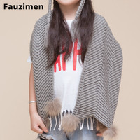 Baby Knitted Wool Scarves Hand Crochet Hat With Real Natural Raccoon Fur Scarves For Neck Warm