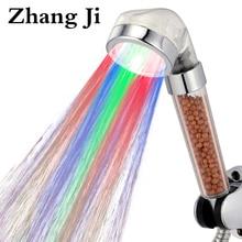 Удивительные прыгать изменения 7 цветов привело душем фильтр Температура воды Светодиодная насадка для душа Спа дождь экономии воды ручной душ ZJ081