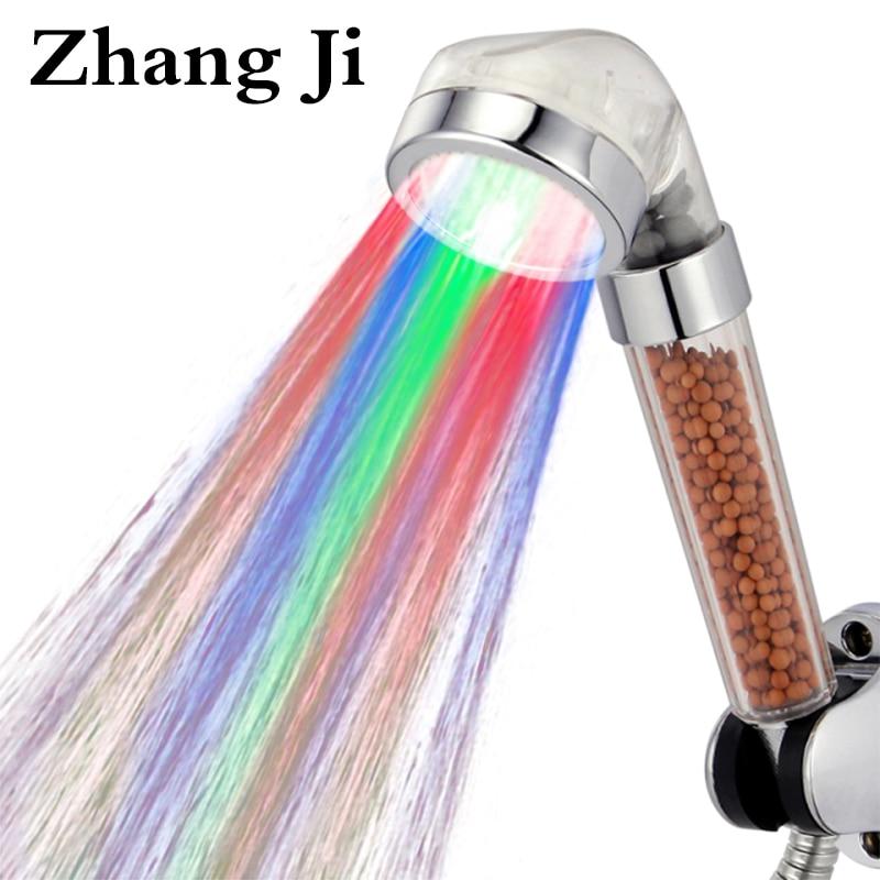 ZhangJi Amazing 3 Colors LED Shower Head Filter Water Temperature Led Shower Head SPA Rain Water Saving Hand shower ZJ081