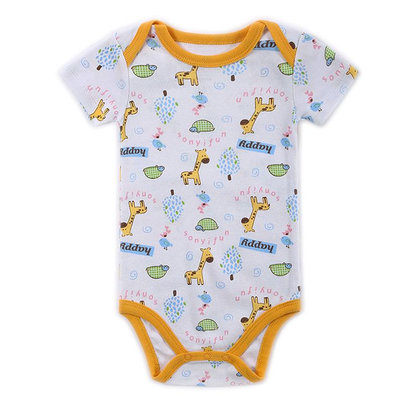 Newborn Baby Bodysuit Mother nest 2017 New Style Short Sleeve Print Little Ship Body Rope Bebe Boys Girls Clothes  (1)