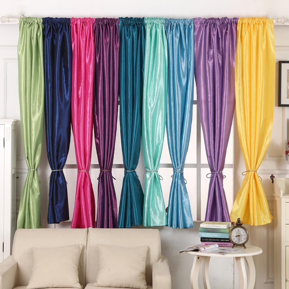 Window Curtain Semi-Blackout Solid Satin Fabric For Home Decoration Living Room Drap Rod Pocket 1PCS/Lot