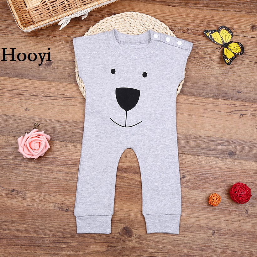 Hooyi Grey Bear Baby Clothes Summer Sleeve Newborn Romper Baby Boys One-Piece Clothing Set Girl Jumpsuit Overall 100% Cotton newborn baby clothes cute cartoon baby rompers sleeveless one piece jumpsuit baby girl romper infant clothing baby costumes boys