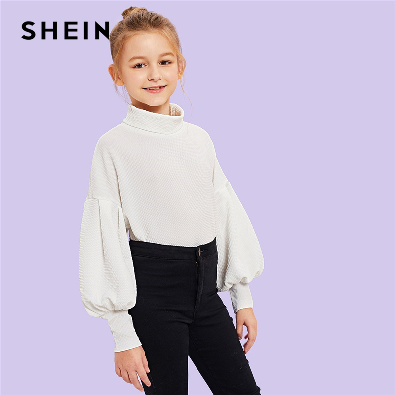 SHEIN White Solid Turtleneck Casual Kids T Shirt Girls Tops 2019 Spring Fashion Bishop Long Sleeve Children Girls Shirts Tee basik kids long sleeve t shirt white