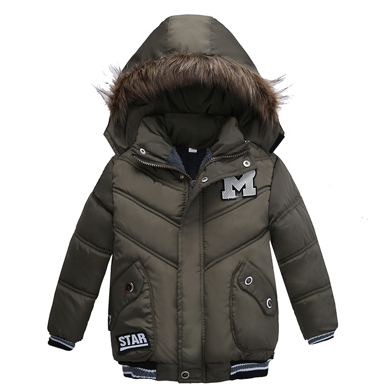 цена на New Children Down Winter Warm Jacket With Fur Baby Boy Girl Solid Overcoat Hooded Winter Jacket Kid Clothing Coat