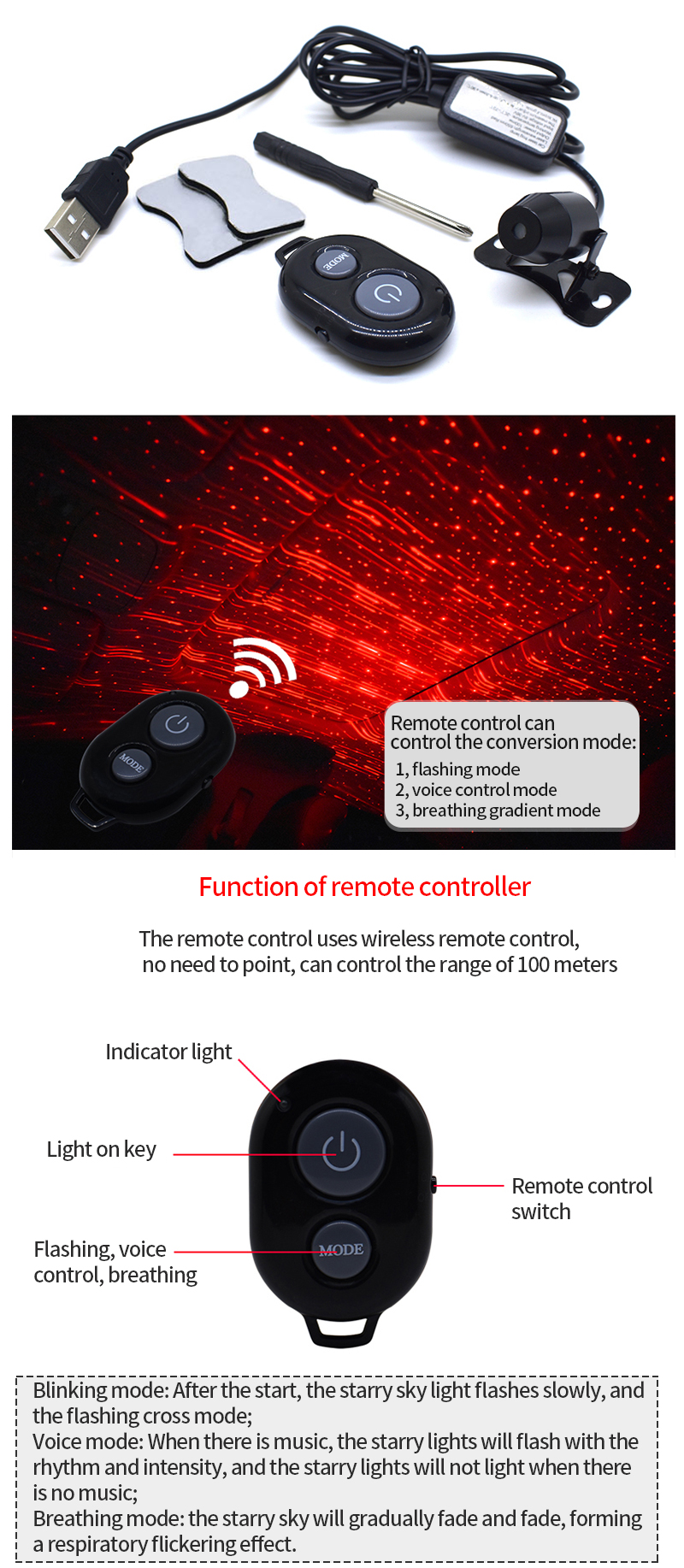 3 Light Projector Car Decoration Light USB LED Starry Sky Star DJ RGB Laser Projector Music Sound Remote Control Auto Home Party