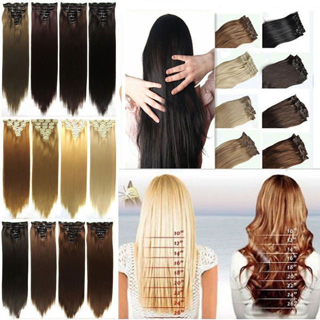 """2015 Sexy Hair Extension with 8pcs 23"""" 170g Long Straight Synthetic 10 Colos Let You Choose To Be A Shine Lady free Shipping"""