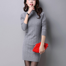 Autumn Knitted Cotton Solid Skinny Stand Collar Women Sweater Dresses Elastic Plus Size S-3XL Sexy Winter Warm Vestidos Femme