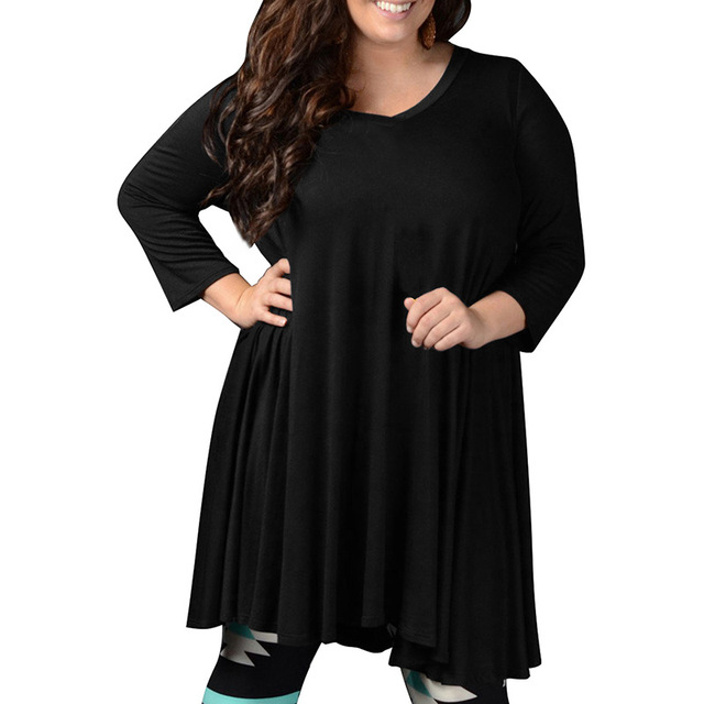 7XL 8XL Big Size Dresses Casual Women 4/5 Sleeve Shift Dress Plus ...