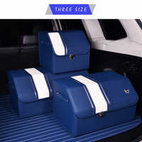 E-FOUR Leather Trunk Box Large Organizer Car Rear Storage Bag Folding High Class mesh Trunk Automobile Accessories Stowing Tidy