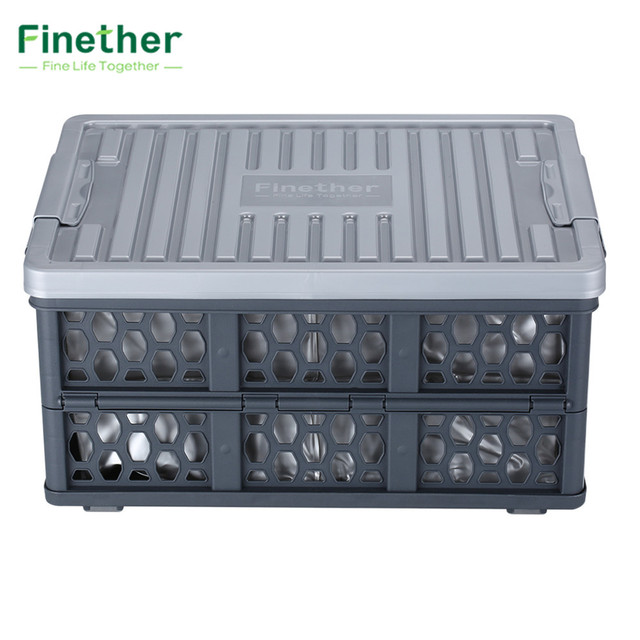 Attrayant Finether Collapsible Utility Plastic Storage Container Crate Box Basket  With Detachable Waterproof Bag Fold Storage Boxes