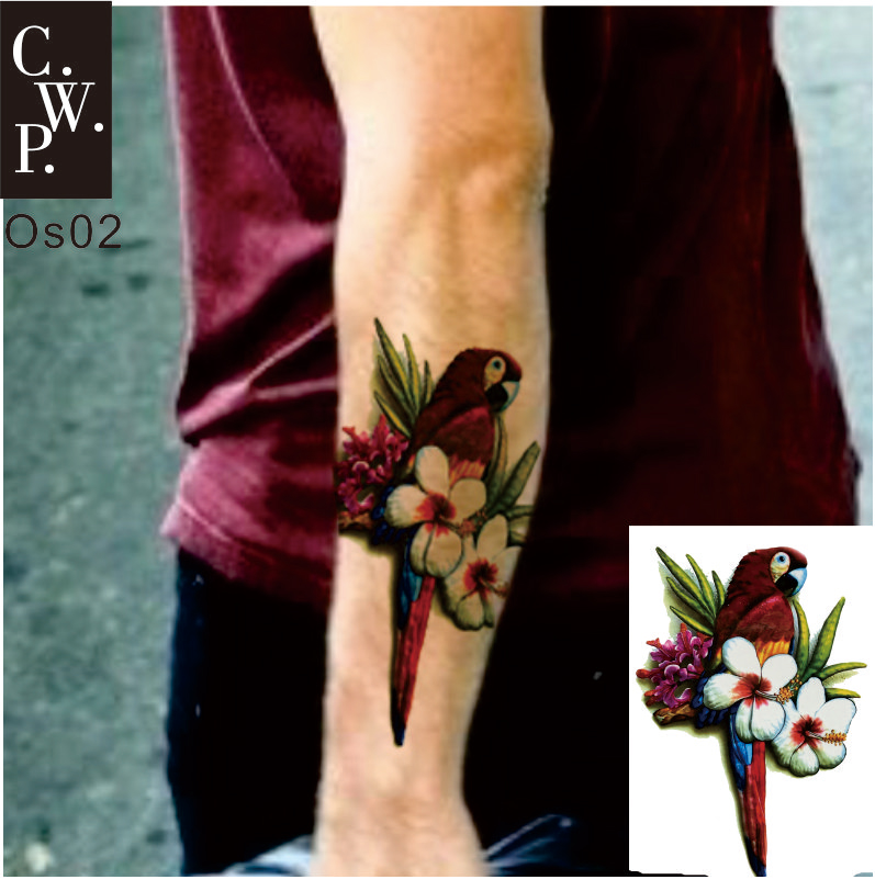 Us 149 Os02 2 Pieces Old School Parrot Macaw On Arm Or Sleeve Temporary Tattoo Best Body Decor For Man In Temporary Tattoos From Beauty Health On