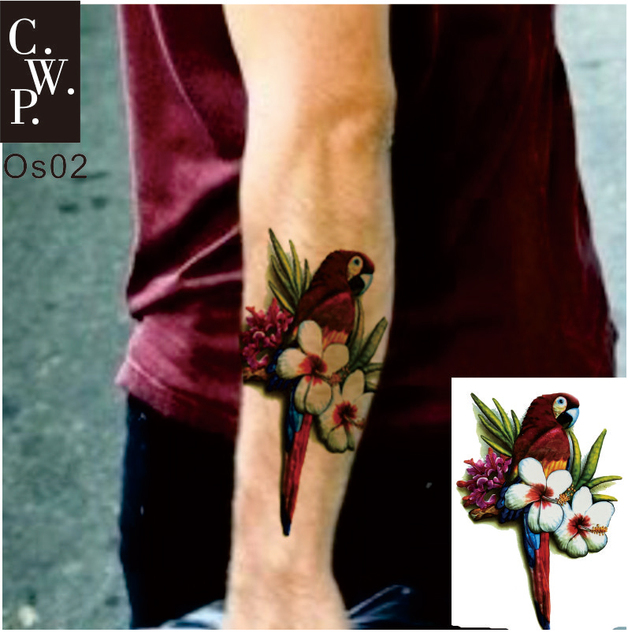 Os02 2 Pieces Old School Parrot Macaw On Arm Or Sleeve Temporary