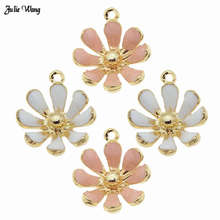 Julie Wang 10pcs Mixed Alloy Daisy Flower Enamel Charms Earring Necklace Pendant DIY Women Bracelet Making Keychain Accessories