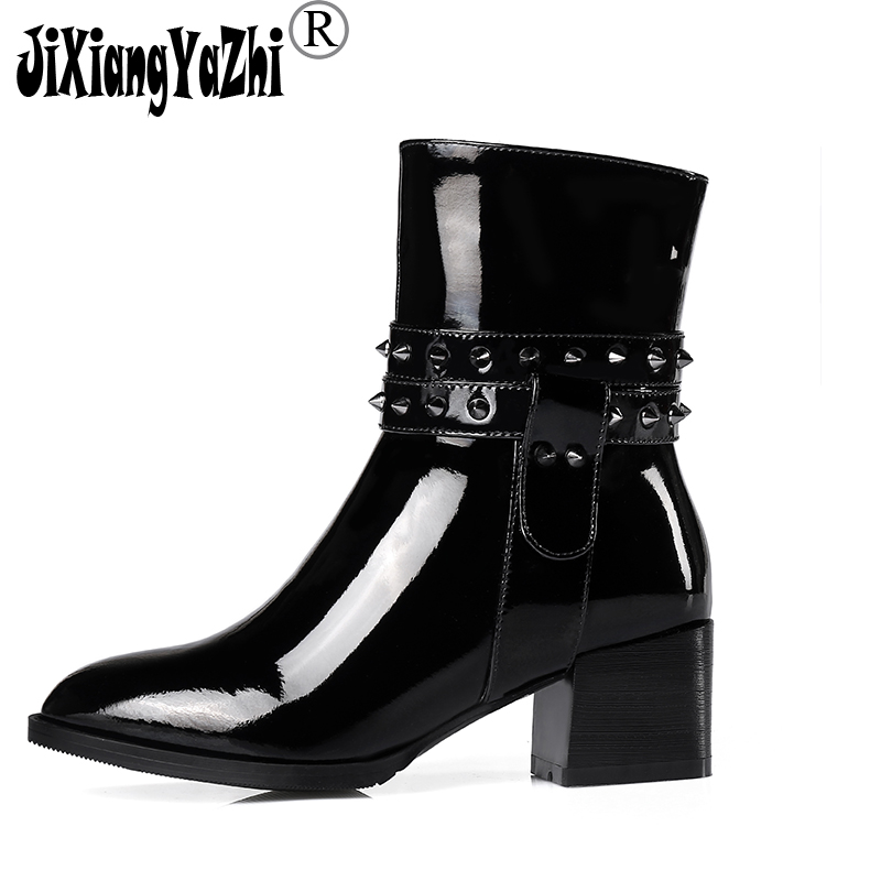 JIXIANGYAZHI Brand 2018 Winter Fashion Genuine Leather Round Toe Buckle Rivet Low Snow Boots Aid- Calf Women's Shoes# B-062 2017 latest men s mid calf boots genuine leather buckle strap round toe men s leather shoes chakku motorcycle boots