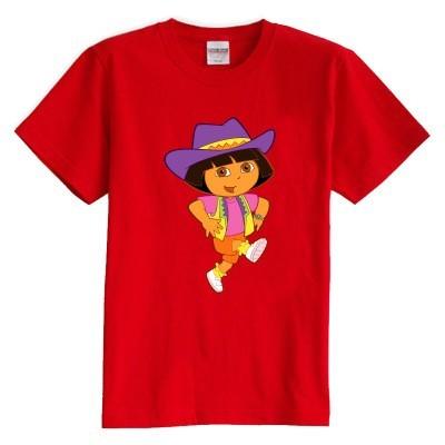 Crianças T shirt do verão de manga curta 100% algodão menina Dora Aventureira cor da camisa dos miúdos t
