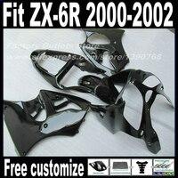 High quality Fairings set for Kawasaki ZX6R 00 01 02 Ninja 636 all glossy black fairing kit ZX 6R 2000 2001 2002 body kits AF18
