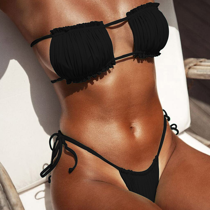 HTB1VsjSNMHqK1RjSZJnq6zNLpXaK Peachtan Sexy pink swimwear women bathing suit Bandeau bikinis 2019 mujer Micro swimsuit female Push up two-piece suit summer