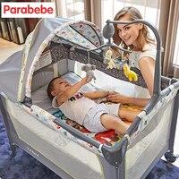 Роскошная детская кровать с музыкальные игрушки Детские Манеж кроватки Многофункциональный Портативный складной детской кроватки складн