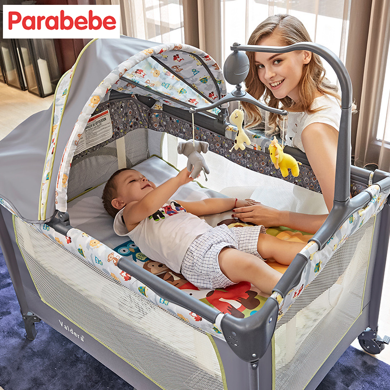 Luxury Baby Bed with music toys Baby Playpen crib Multifunction Portable Folding Baby Crib Folding Carrycot suit for 0-6Y