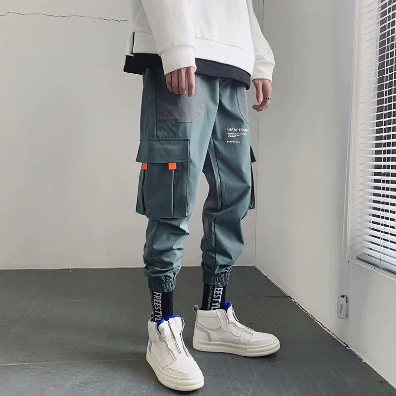 Cotton Trousers Pant Streetwear Sweatpant Jogger Hip-Pants Color-Block Cargo Patchwork