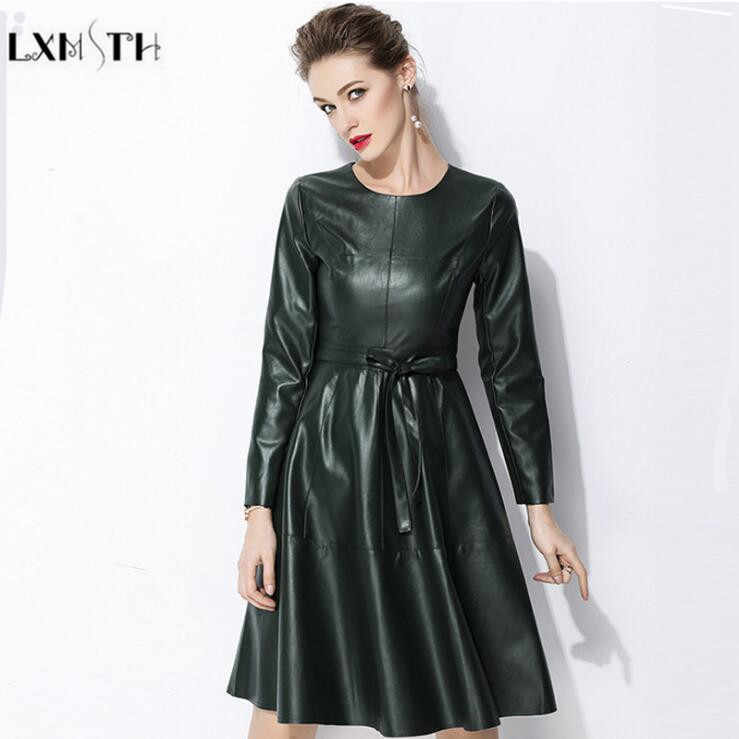97023aaeac1 LXMSTH Faux Leather Dress Women Elegant Womens PU Leather Dresses With Belt  Spring 2019 Plus Size