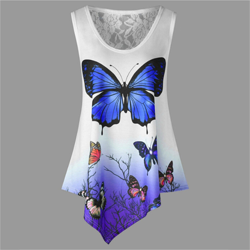 New-Sleeveless-Summer-Casual-Women-T-shirt-Butterfly-Print-Irregular-O-Neck-2018-Tees-Shirt-Fashion (1)