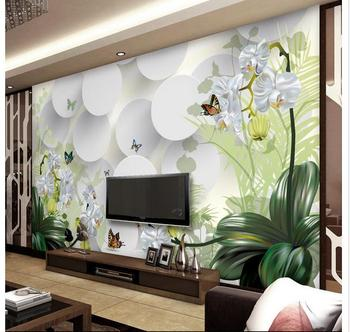 Custom photo wallpaper 3d wallpapers murals Idyllic landscape orchid flower TV sofa background mural wall papers