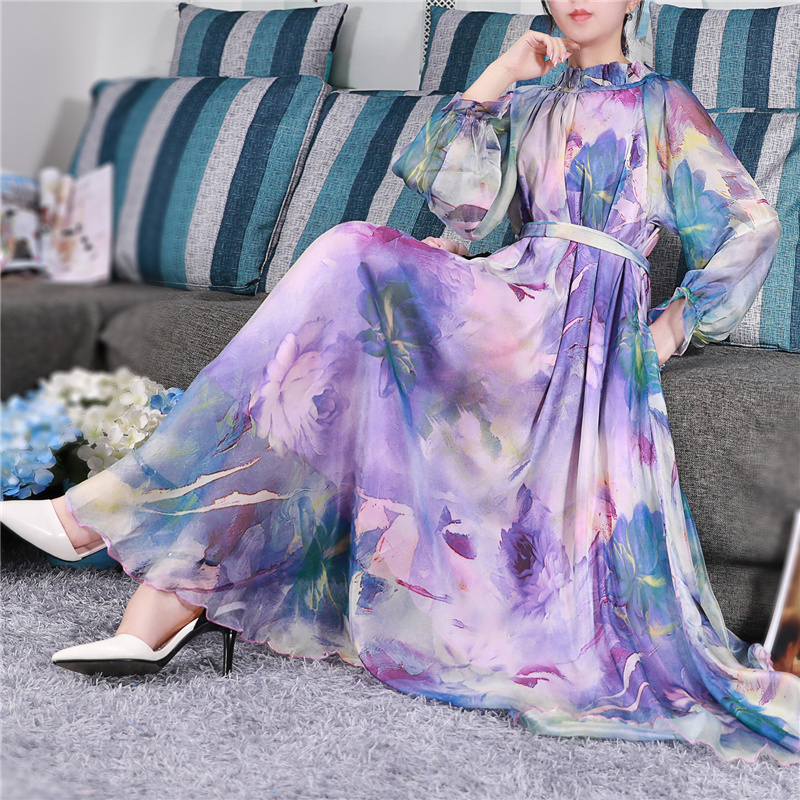 bohemian Runway Maxi Dress Plus size Women s Long Sleeve ruffle Collar Vintage Floral Print Chiffon